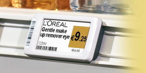 Displaydata's electronic shelf labels at a major airport's duty free store