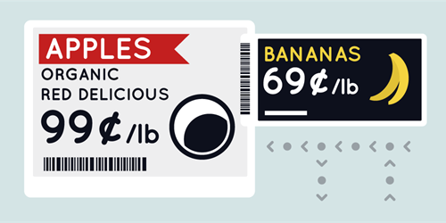 Displaydata's electronic shelf labels are available in black and 'paper white', with yellow and red options too